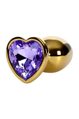 Анальная пробка металлическая золотистая с фиолетовым кристаллом в форме сердца, размер S