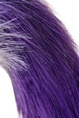 Анальная пробка металлическая серебристая с бело-фиолетовым хвостом, размер S