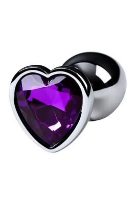 Анальная пробка металлическая серебристая Metal TOYFA с фиолетовым кристаллом в форме сердца, размер S