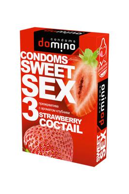 Оральные презервативы DOMINO SWEETSEX с ароматом клубники (3 шт)