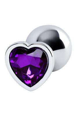 Анальная пробка металлическая серебристая Metal TOYFA с фиолетовым кристаллом в форме сердца, размер M