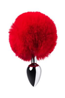 Серебристая анальная втулка с красным хвостиком зайчика