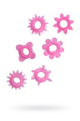 Набор розовых эрекционных колец на пенис (6 шт)