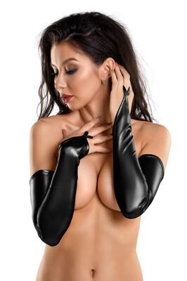 Перчатки-митенки выше локтя черные Glossy из материала Wetlook, M