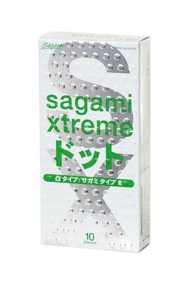Презервативы ультратонкие анатомической формы с рельефными точками латексные Sagami Xtreme Type-E (10 шт)
