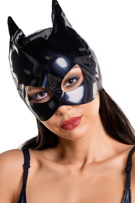 Маска кошки черная Glossy из материала Wetlook, OS