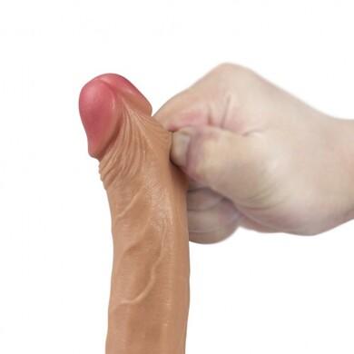 Реалистичный фаллоимитатор на присоске с мошонкой 7 Dual-Layered Silicone Cock