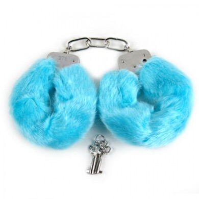 Металлические наручники с мехом синие