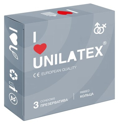 """Презервативы UNILATEX №3 """"RIBBED"""" с рифленой поверхностью"""
