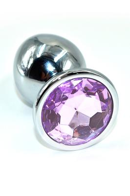 Серебряная анальная пробка со светло-фиолетовым кристаллом (Large)