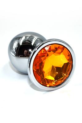 Серебряная анальная пробка с оранжевым кристаллом (Large)