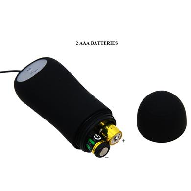 Анальная пробка черного цвета с проводным пультом и 12 режимами вибрации