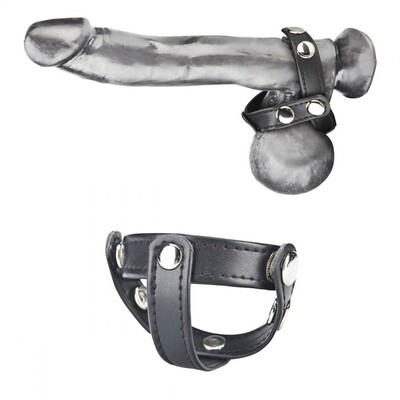 Кольцо на пенис с разделителем мошонки на клепках T-Style Cock Ring