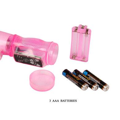 Розовый вибратор Хай-тек с ротацией и клиторальным стимулятором