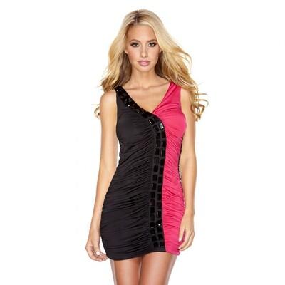 Двухцветное платье Double Color с глубоким вырезом, S