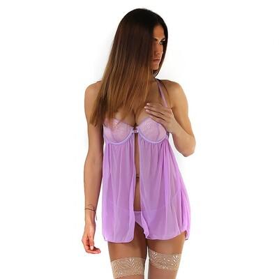 Нежно-фиолетовый бэби-долл с лифом push-up и застёжкой спереди, S