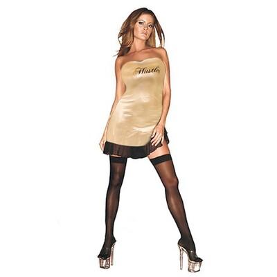 Платье золотое с надписью Hustler, OS