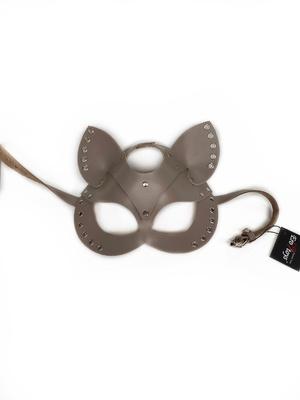 Маска Cat из натуральной кожи с люверсами бежевая Erotoys Fetish line, Ero-93br