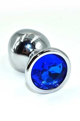 Серебряная анальная пробка с темно-синим кристаллом (Medium)