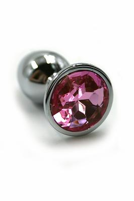Серебряная анальная пробка с нежно-розовым кристаллом (Small)