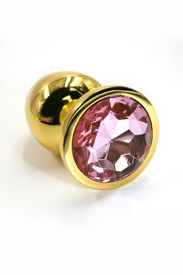 Золотая анальная пробка с нежно-розовым кристаллом (Small)
