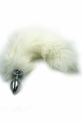 Серебряная анальная пробка с белым хвостом из натурального меха (Small)