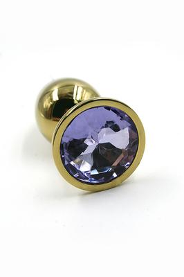 Золотая анальная пробка со светло-фиолетовым кристаллом (Small)