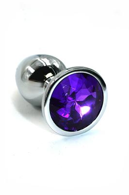Серебряная анальная пробка из алюминия с темно-фиолетовым кристаллом (Small)