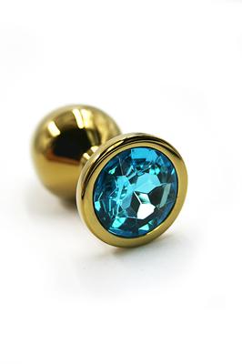 Золотая анальная пробка с нежно-голубым кристаллом (Small)