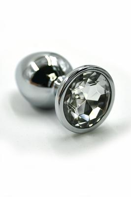 Серебряная анальная пробка с прозрачным кристаллом (Small)