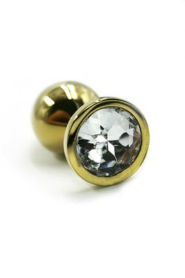Золотая анальная пробка с прозрачным кристаллом (Small)