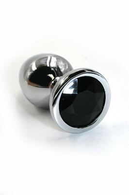 Серебряная анальная пробка с черным кристаллом (Small)
