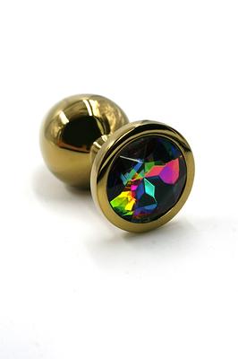 Золотая анальная пробка с радужным кристаллом (Small)