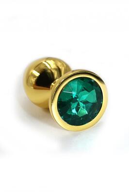 Золотая анальная пробка с темно-зеленым кристаллом (Small)