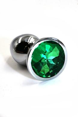 Серебряная анальная пробка с темно-зеленым кристаллом (Small)
