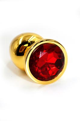 Золотая анальная пробка с ярко-красным кристаллом (Small)