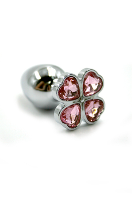 Серебряная анальная пробка со светло-розовыми кристаллами в форме цветка (Small)