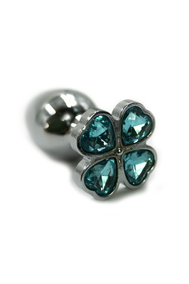 Серебряная анальная пробка с нежно-голубыми кристаллами в форме цветка (Small)