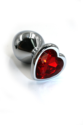 Серебряная анальная пробка с ярко-красным кристаллом в форме сердца (Medium)