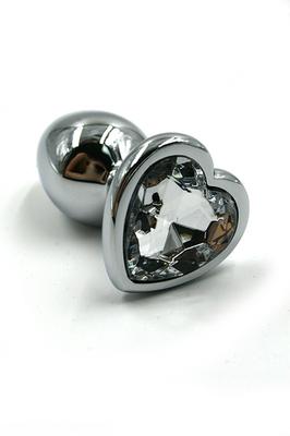 Серебряная анальная пробка с прозрачным кристаллом в форме сердца (Medium)