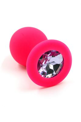 Розовая анальная пробка из силикона с нежно-фиолетовым кристаллом (Medium)