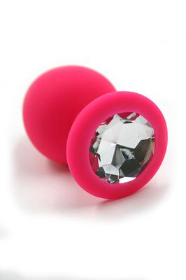 Розовая анальная пробка из силикона с прозрачным кристаллом (Medium)