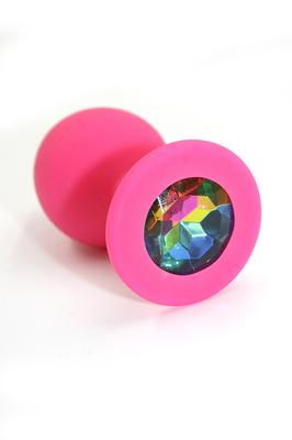 Розовая анальная пробка из силикона с радужным кристаллом (Medium)