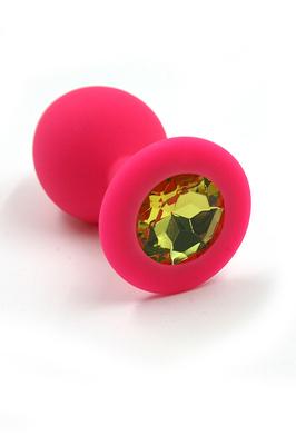 Розовая анальная пробка из силикона с нежно-желтым кристаллом (Medium)