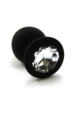 Черная анальная пробка из силикона с прозрачным кристаллом (Medium)