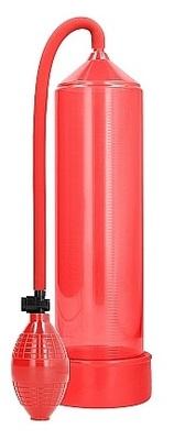 Ручная вакуумная помпа для мужчин с насосом в виде груши Classic Penis Pump красная