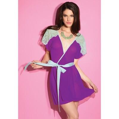 Халат фиолетовый с кружевными рукавами, OS