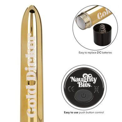 Вибратор классический золотой Naughty Bits Gold Dicker
