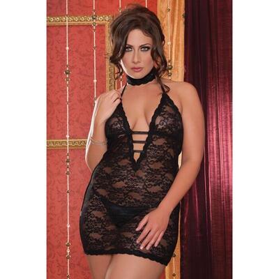 Платье чёрное ажурное с глубоким декольте и аксессуаром на шею, XL