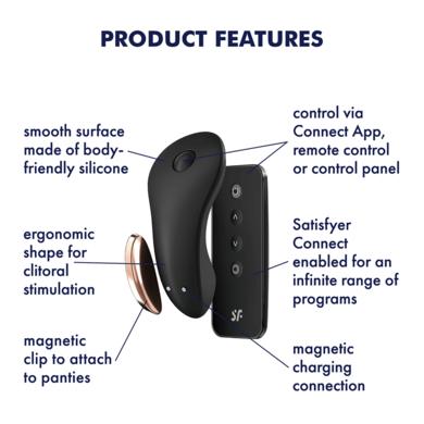 Клиторальный вибратор в трусики с пультом и возможностью управления через смартфон чёрный Satisfyer Little Secret